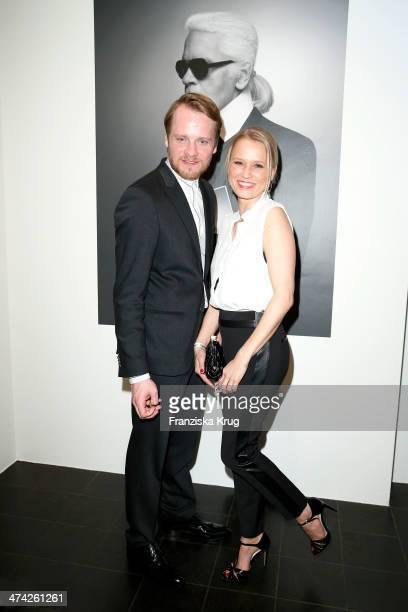 Stefan Konarske and Nova Meierhenrich attend the 'Feuerbachs Musen Lagerfelds Models' Exhibition at Kunsthalle on February 22 2014 in Hamburg Germany
