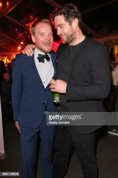 Stefan Konarske and Ronald Zehrfeld attend the German Reception during the 70th annual Cannes Film Festival at Villa Rothschild on May 20 2017 in...