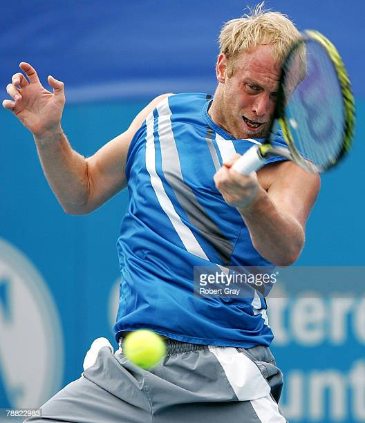 Stefan Koubek of Austria plays a forehand in his match against Carlos Moya of Spain during day three of the Medibank International at Sydney Olympic...