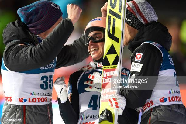 Stefan Kraft from Austria celebrates with his teammates his victory in FIS Ski Jumping World Cup 2018-2019 - Men's HS134 on January 20, 2019 in...