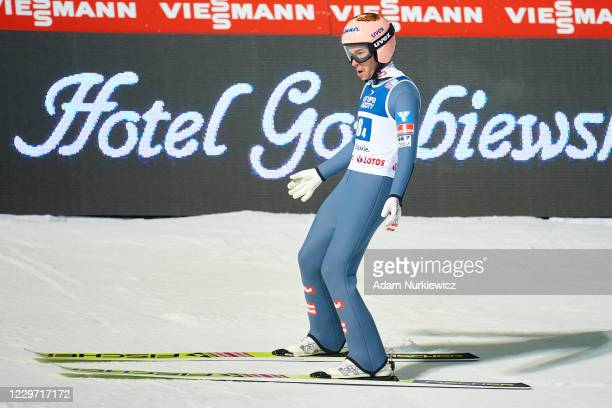 Stefan Kraft from Austria competes in the Men's Team HS134 of the FIS Ski Jumping World Cup Wisla on November 21, 2020 in Wisla, Poland.