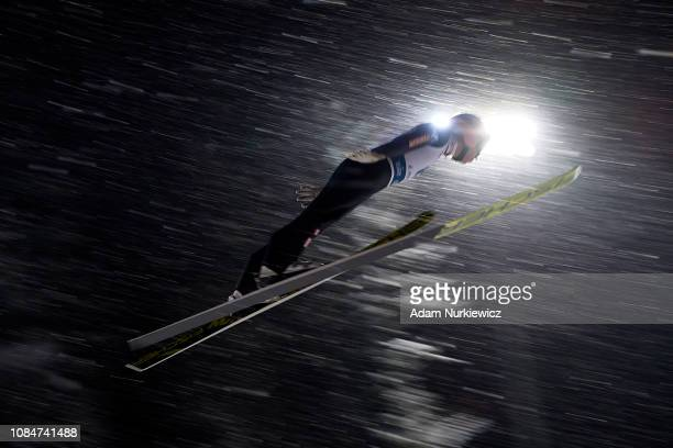 Stefan Kraft from Austria soars in the air during training session of FIS Ski Jumping World Cup 2019 on January 18 2019 in Zakopane Poland