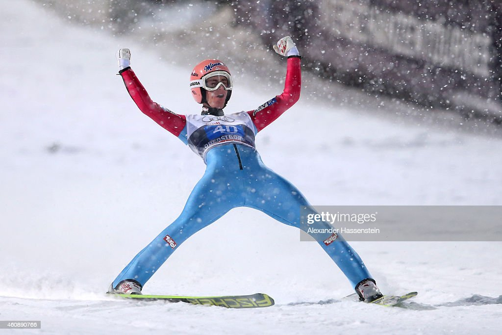 Stefan Kraft of Austria celebrates after his final jump on day 2 of the Four Hills Tournament Ski Jumping event at Schattenberg-Schanze Erdinger Arena on December 29, 2014 in Oberstdorf, Germany.