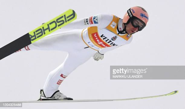 Stefan Kraft of Austria competes during the first round of the men's ski jumping large hill competition at the FIS World Cup Lahti Ski Games 2020 in...