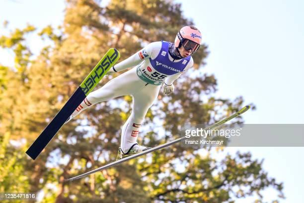 Stefan Kraft of Austria competes during the FIS Grand Prix Skijumping Hinzenbach at on February 6, 2021 in Eferding, Austria.