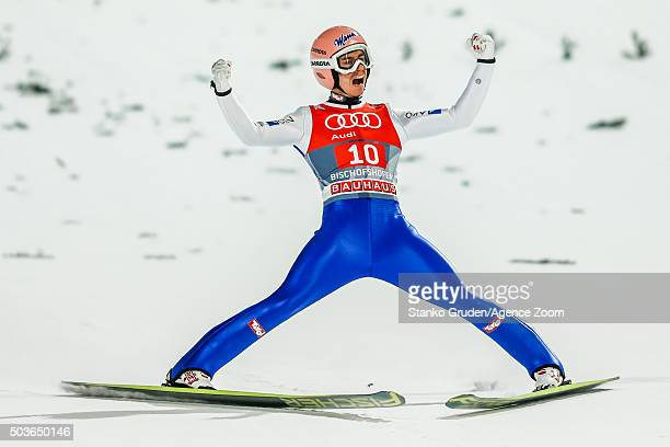 Stefan Kraft of Austria competes during the FIS Nordic World Cup Four Hills Tournament on January 6 2016 in Bischofshofen Austria