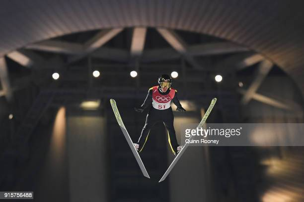 Stefan Kraft of Austria competes in the Men's Normal Hill Individual Qualification at Alpensia Ski Jumping Centre on February 8 2018 in...