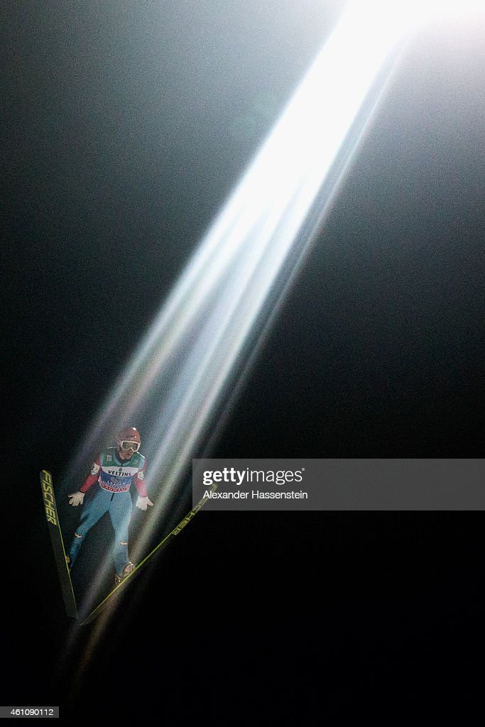 Stefan Kraft of Austria competes on day 8 of the Four Hills Tournament Ski Jumping event at Paul-Ausserleitner-Schanze Sepp-Bradl-Stadion on January 6, 2015 in Bischofshofen, Austria.