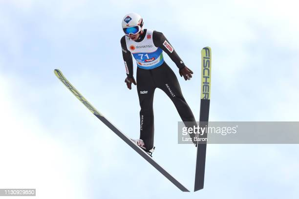 Stefan Kraft of Austria during Ski Jumping training ahead of the Stora Enso FIS World Ski Championships on February 20, 2019 in Innsbruck, Austria.