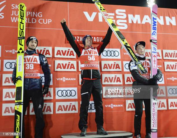Stefan Kraft of Austria is pictured at the ceremony after winning the men's large hill individual competition at Ski Jumping World Cup in Nizhny...