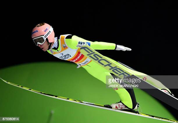 Stefan Kraft of Austria jumps during qualification of FIS Ski Jumping World Cup in Wisla, Poland on November 17, 2017. / AFP PHOTO / JANEK SKARZYNSKI