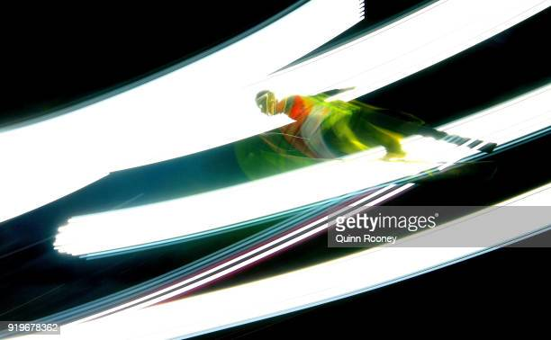 Stefan Kraft of Austria makes a jump during the Ski Jumping Men's Large Hill on day eight of the PyeongChang 2018 Winter Olympic Games at Alpensia...
