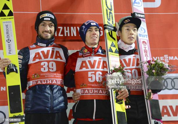 Stefan Kraft of Austria poses at the ceremony after winning the men's large hill individual competition at Ski Jumping World Cup in Nizhny Tagil...