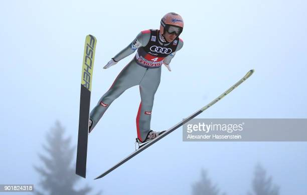 Stefan Kraft of Austria soars through the air during his practice jump of the FIS Nordic World Cup Four Hills Tournament on January 6 2018 in...