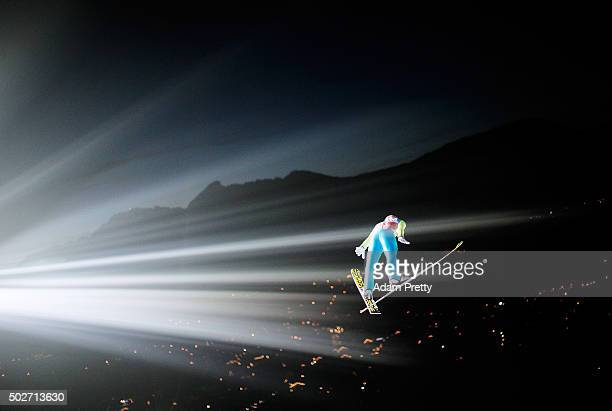 Stefan Kraft of Austria soars through the air during his training jump on Day 1 of the 64th Four Hills Tournament ski jumping event on December 28...