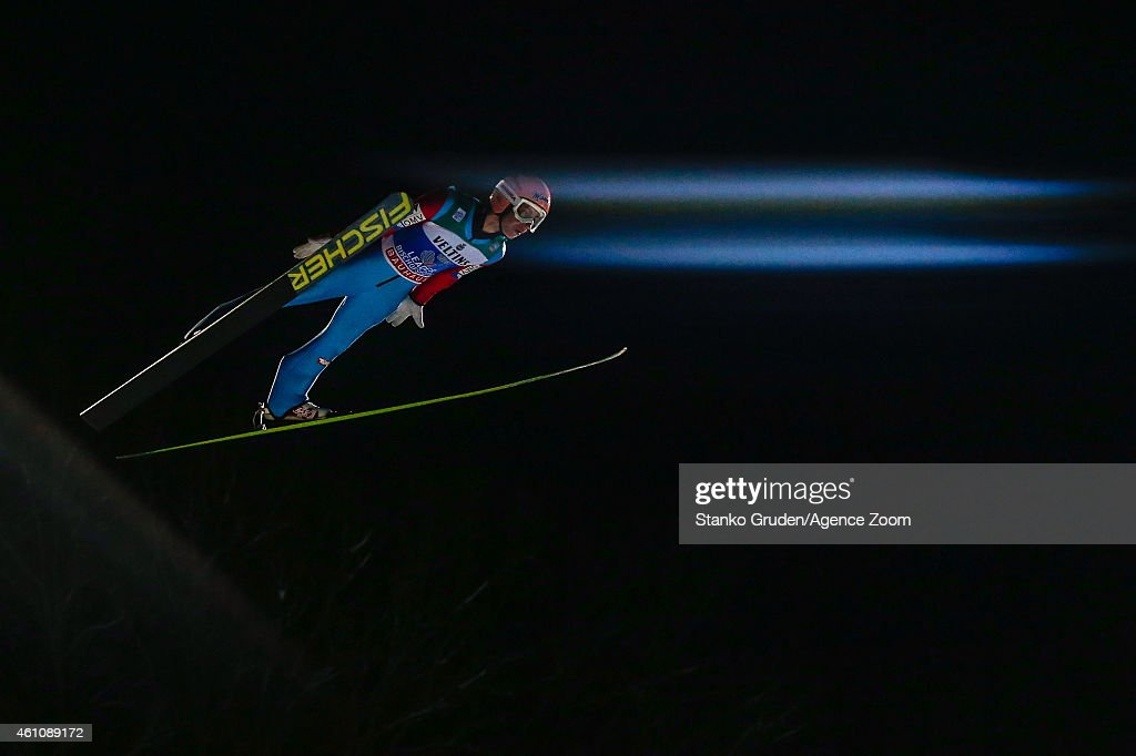 Stefan Kraft of Austria takes 1st place during the FIS Ski Jumping World Cup Vierschanzentournee (Four Hills Tournament) on January 06, 2015 in Bischofhofen, Austria.