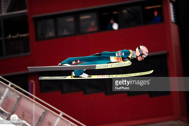 Stefan Kraft soars in the air during the trial round of the men's large hill team competition HS130 of the FIS Ski Jumping World Cup in Lahti,...