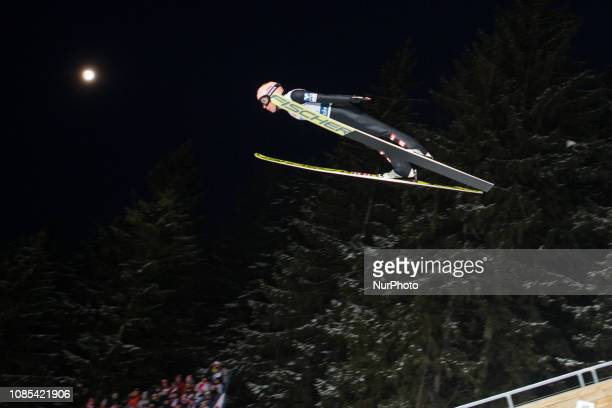 Stefan Kraft soars through the air during the men's team event at the FIS Ski Jumping World Cup competition on January 19 2019 in Zakopane Poland