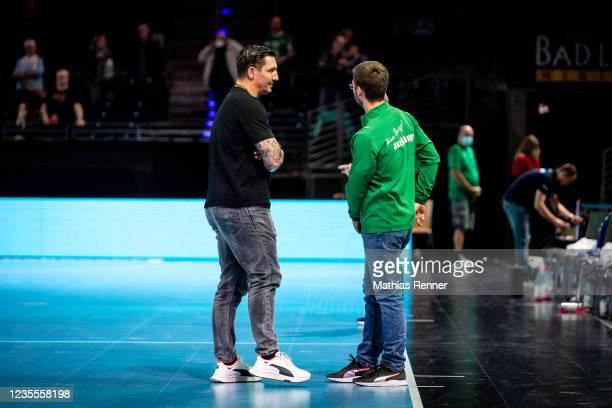 Stefan Kretzschmar and coach Jaron Siewert of Fuechse Berlin during the EHF Handball European League match between Fuechse Berlin and KS Azoty-Pulawy...