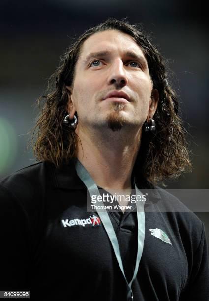 Stefan Kretzschmar manager of Magdeburg looks on during the Toyota Handball Bundesliga match between Rhein Neckar Loewen and SC Magdeburg at the...