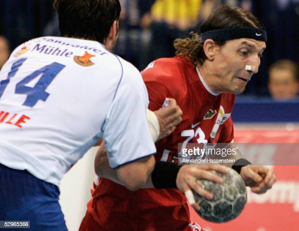 Stefan Kretzschmar of Magdeburg in action with Bertrand Gille of Hamburg during the Handball Bundesliga match between HSV Handball and SC Magdeburg...