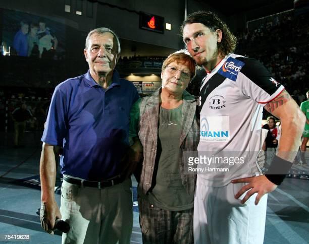 Stefan Kretzschmar poses with his parents Peter and Waltraud Kretzschmar during the Stefan Kretzschmar Farewell Match between All Star Team v SC...