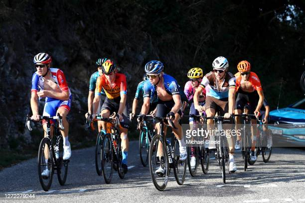 Stefan Kung of Switzerland and Team Groupama - FDJ / Michael Valgren Andersen of Denmark and NTT Pro Cycling Team / Matej Mohoric of Slovenia and...