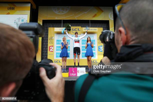 Stefan Kung of Switzerland and the BMC Racing Team celebrates on the podium in the best young rider jersey following stage two of the 2017 Le Tour de...