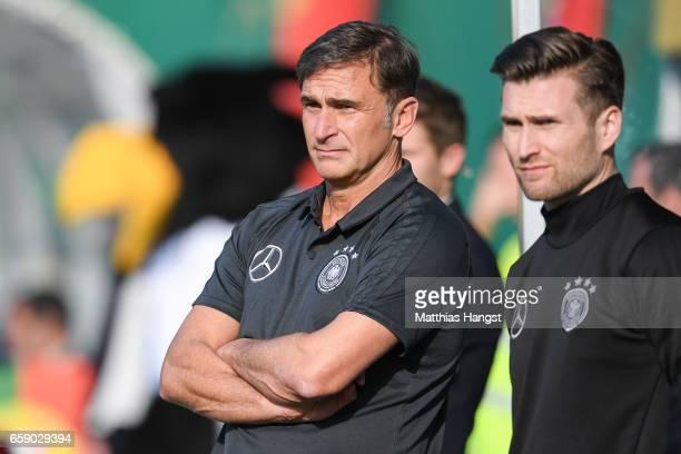 Stefan Kuntz head coach of Germany looks on prior the U21 International Friendly match between Germany U21 and Portugal U21 at GaziStadion auf der...