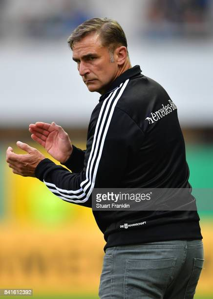 Stefan Kuntz head coach of Germany U21 claps during the International friendly match between Germany U21 and Hungary U21 at the Benteler Arena on...