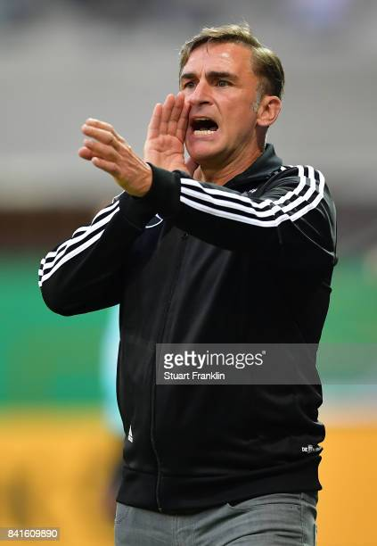 Stefan Kuntz head coach of Germany U21 shouts instructions during the International friendly match between Germany U21 and Hungary U21 at the...