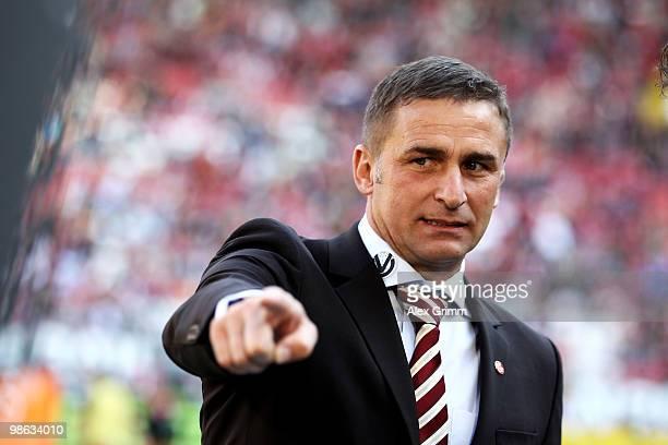 Stefan Kuntz president of Kaiserslautern gestures prior to the Second Bundesliga match between 1 FC Kaiserslautern and Hansa Rostock at the...
