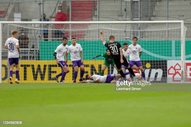 Stefan Kutschke of FC Ingolstadt 04 in action during the DFB Cup first round match between FC Ingolstadt 04 and Erzgebirge Aue at Audi Sportpark on...