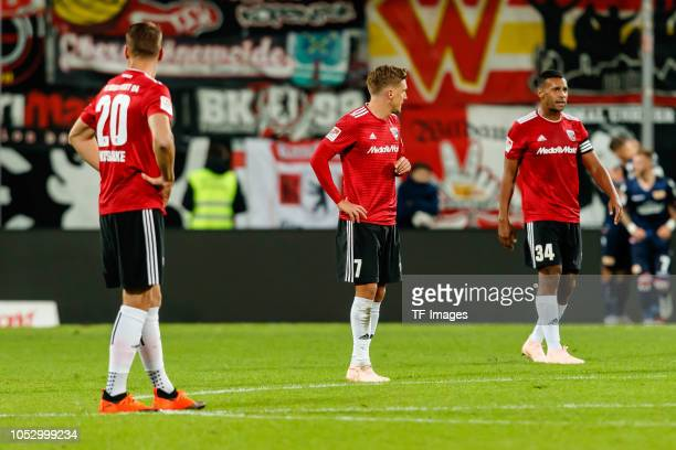 Stefan Kutschke of FC Ingolstadt Konstantin Kerschbaumer of FC Ingolstadt and Marvin Job Matip of FC Ingolstadt look dejected during the Second...