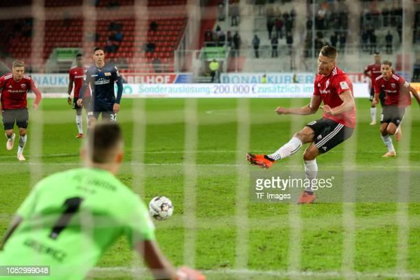 Stefan Kutschke of FC Ingolstadt scores the team`s first goal during the Second Bundesliga match between FC Ingolstadt 04 and 1 FC Union Berlin at...