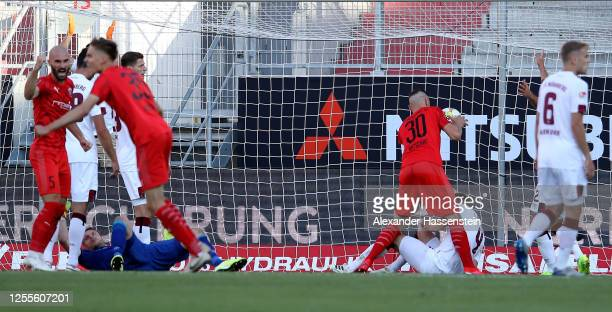 Stefan Kutschke of Ingolstadt scores his teams first goal during the 2 Bundesliga playoff second leg match between FC Ingolstadt and 1 FC Nürnberg at...