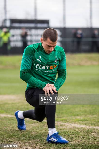 Stefan Lainer in action during a team training session of Borussia Moenchengladbach ahead the UEFA Champions League Round Of 16 Leg One match at...
