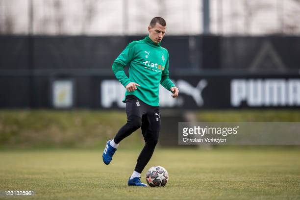 Stefan Lainer in action during a Training session of Borussia Moenchengladbach at Borussia-Park on February 22, 2021 in Moenchengladbach, Germany.