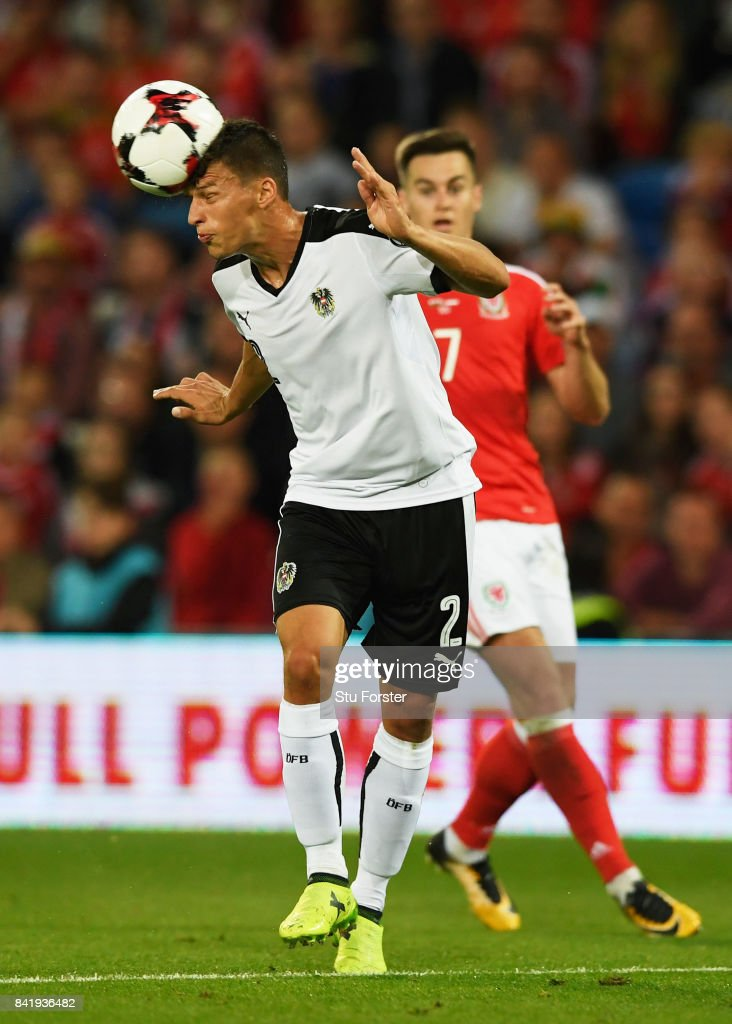 Stefan Lainer of Austria heads clear during the FIFA 2018 World Cup Qualifier between Wales and Austria at Cardiff City Stadium on September 2, 2017 in Cardiff, Wales.