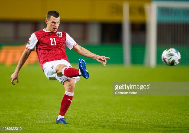 Stefan Lainer of Austria passes the ball during the UEFA Nations League group stage match between Austria and Northern Ireland at Ernst Happel...