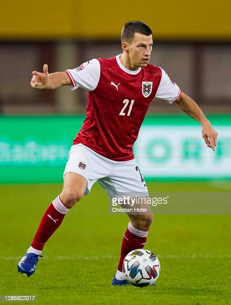 Stefan Lainer of Austria runs with the ball during the UEFA Nations League group stage match between Austria and Northern Ireland at Ernst Happel...