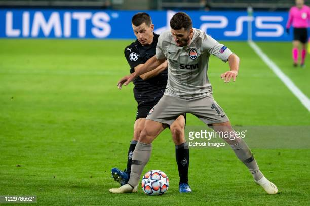 Stefan Lainer of Borussia Moenchengladbach and Junior Moraes of Shakhtar Donetsk battle for the ball during the UEFA Champions League Group B stage...
