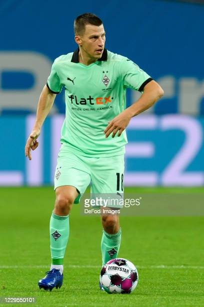 Stefan Lainer of Borussia Moenchengladbach controls the ball during the Bundesliga match between Bayer 04 Leverkusen and Borussia Moenchengladbach at...