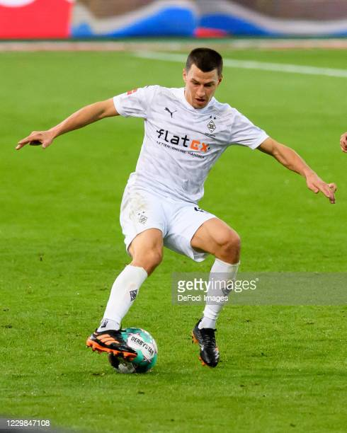 Stefan Lainer of Borussia Moenchengladbach controls the ball during the Bundesliga match between Borussia Moenchengladbach and FC Schalke 04 at...