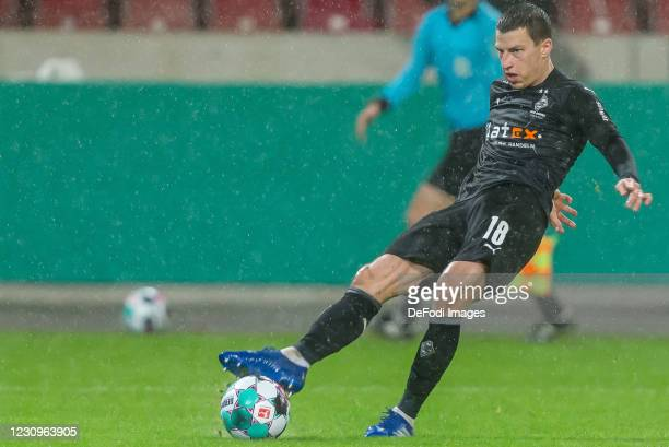 Stefan Lainer of Borussia Moenchengladbach controls the Ball during the DFB Cup Round of Sixteen match between VfB Stuttgart and Borussia...