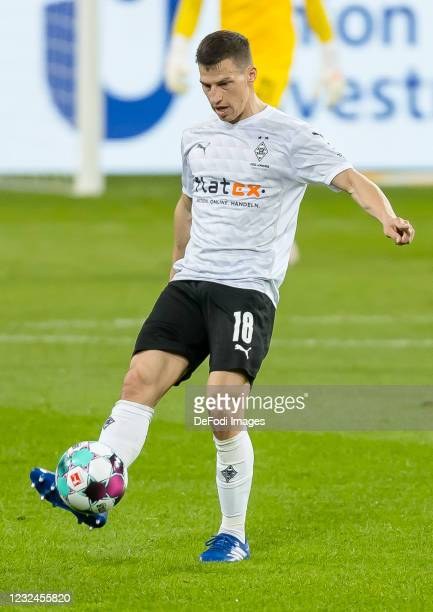 Stefan Lainer of Borussia Moenchengladbach controls the ball during the Bundesliga match between TSG Hoffenheim and Borussia Moenchengladbach at...
