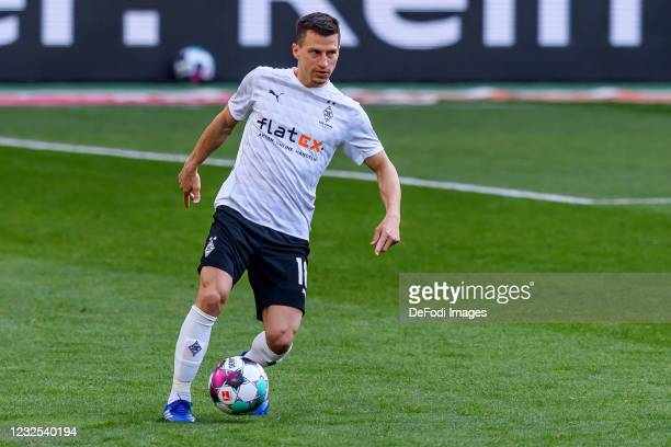 Stefan Lainer of Borussia Moenchengladbach controls the ball during the Bundesliga match between Borussia Moenchengladbach and DSC Arminia Bielefeld...