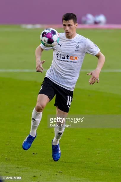 Stefan Lainer of Borussia Moenchengladbach controls the ball during the Bundesliga match between FC Bayern Muenchen and Borussia Moenchengladbach at...