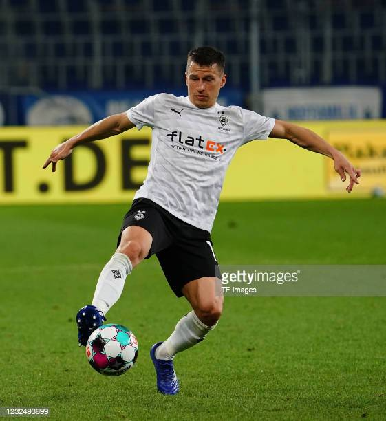 Stefan Lainer of Borussia Moenchengladbach during the Bundesliga match between TSG Hoffenheim and Borussia Moenchengladbach at PreZero-Arena on April...