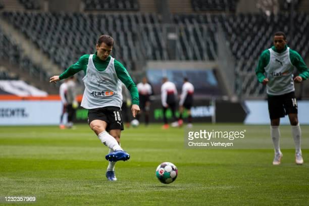 Stefan Lainer of Borussia Moenchengladbach in action before the Bundesliga match between Borussia Moenchengladbach and Eintracht Frankfurt at...